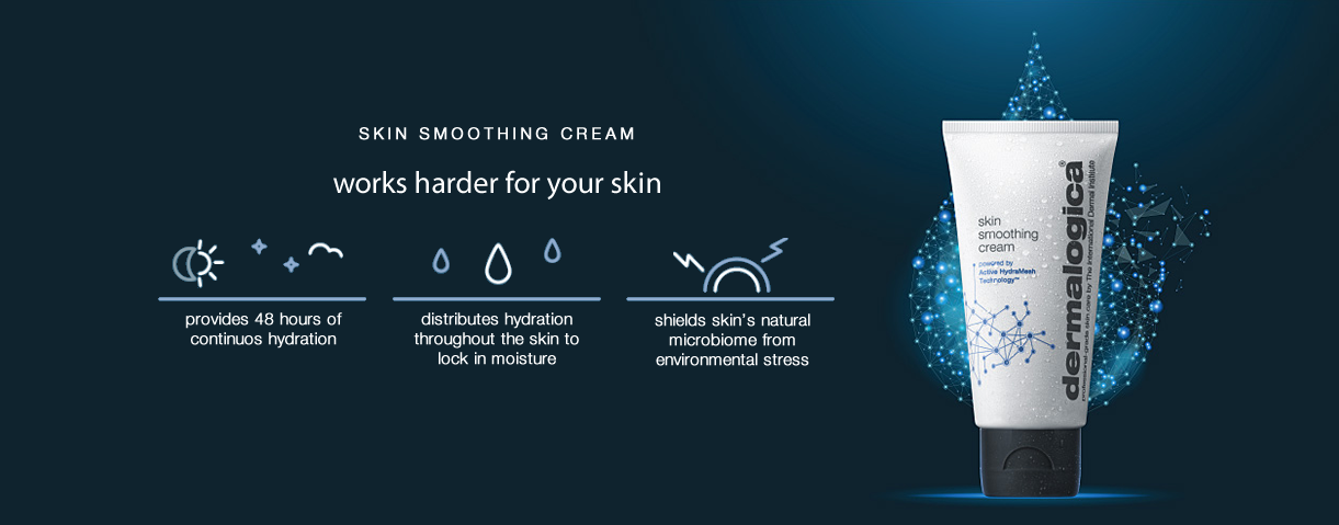 new! skin smoothing cream with active hydramesh technology